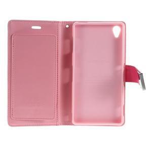 Luxury PU kožené pouzdro na mobil Sony Xperia Z3 - rose - 5
