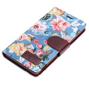 kvetinové puzdro pre mobil Sony Xperia Z3 - modré - 5