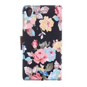kvetinové puzdro pre mobil Sony Xperia Z3 - čierne - 5
