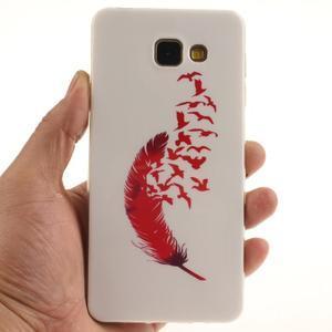 Silk gelový kryt na mobil Samsung Galaxy A3 (2016) - červené peříčko - 5