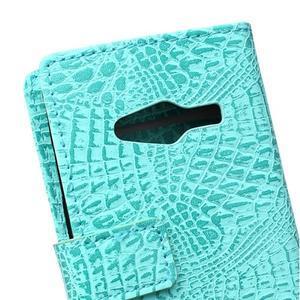 Croco peňaženkové puzdro pre Samsung Galaxy Trend 2 Lite - cyan - 5