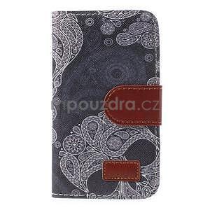 Pěněženkové kožené puzdro na Samsuing Galaxy S3 mini - skull - 5