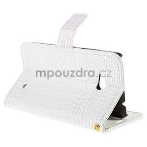 Croco peňaženkové puzdro s krokodílím motívom na Microsoft Lumia 640 - biele - 5