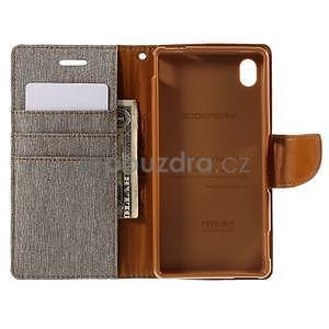 Canvas textilní/koženkové pouzdro na Sony Xperia M4 Aqua - šedé - 5