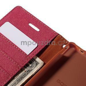 Canvas textilné/koženkové puzdro pre Sony Xperia M4 Aqua - červené - 5