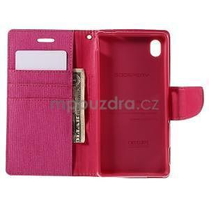Canvas textilní/koženkové pouzdro na Sony Xperia M4 Aqua - rose - 5