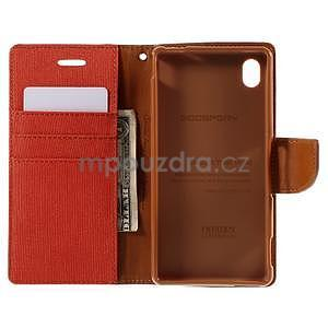 Canvas textilné/koženkové puzdro pre Sony Xperia M4 Aqua - oranžové - 5