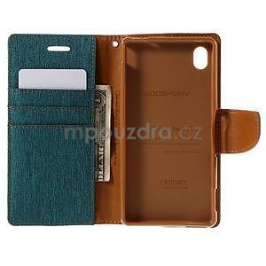 Canvas textilné / koženkové puzdro pre Sony Xperia M4 Aqua - zelenomodré - 5