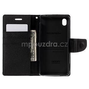 Canvas textilné/koženkové puzdro pre Sony Xperia M4 Aqua - čierne - 5