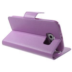 Diary PU kožené puzdro pre mobil Samsung Galaxy S6 -fialové - 5