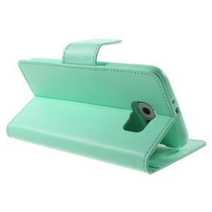 Diary PU kožené puzdro na mobil Samsung Galaxy S6 -cyan - 5