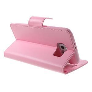 Diary PU kožené puzdro na mobil Samsung Galaxy S6 -růžové - 5