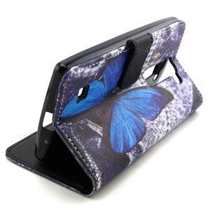 Peneženkové puzdro na mobil LG G4c - modrý motýl - 5