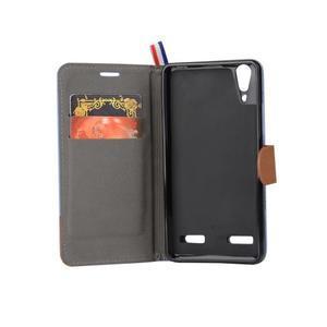 Jeans PU kožené/Textilné puzdro pre mobil Lenovo A6000 - ružové - 5