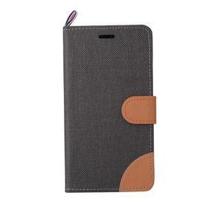 Jeans PU kožené/textilní puzdro na mobil Lenovo P70 - čierné - 5