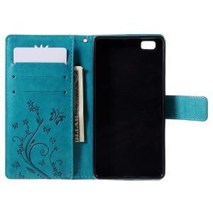 Butterfly PU kožené puzdro na Huawei Ascend P8 Lite - modré - 5