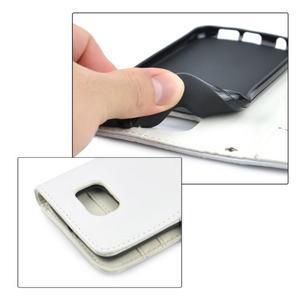 Croco motiv koženkového pouzdra pre Samsung Galaxy S6 - biele - 5