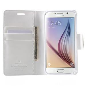 Diary PU kožené puzdro na mobil Samsung Galaxy S6 - biele - 5