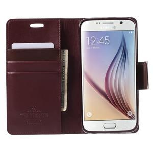 Diary PU kožené puzdro pre mobil Samsung Galaxy S6 - vínové - 5