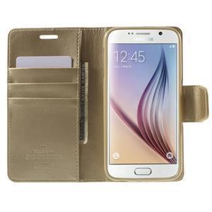 Diary PU kožené puzdro na mobil Samsung Galaxy S6 - zlaté - 5