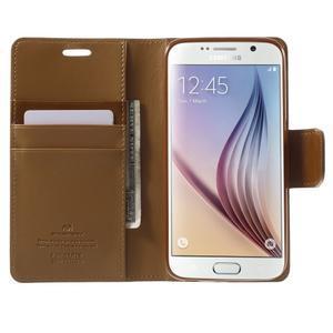 Diary PU kožené puzdro na mobil Samsung Galaxy S6 - hnedé - 5