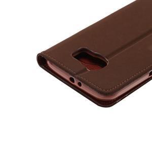 Business látkové/PU kožené puzdro na Samsung Galaxy S6 - hnedé - 5