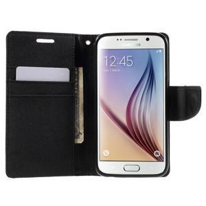 Luxury textilní/koženkové puzdro na Samsung Galaxy S6 - čierné - 5