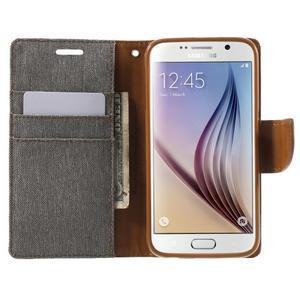 Luxury textilní/koženkové puzdro na Samsung Galaxy S6 - šedé - 5