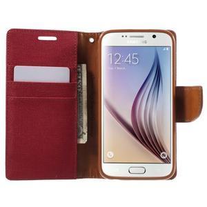 Luxury textilní/koženkové puzdro na Samsung Galaxy S6 - červené - 5