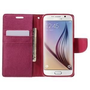 Luxury textilní/koženkové puzdro na Samsung Galaxy S6 - rose - 5