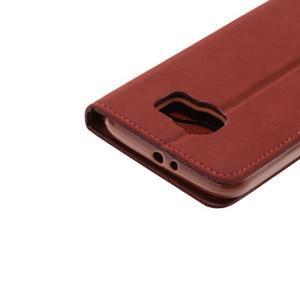 Business látkové/PU kožené puzdro na Samsung Galaxy S6 - červenohnedé - 5