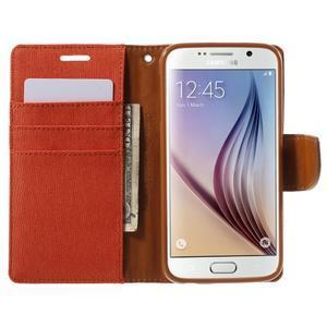 Luxury textilné/koženkové puzdro pre Samsung Galaxy S6 - oranžové - 5