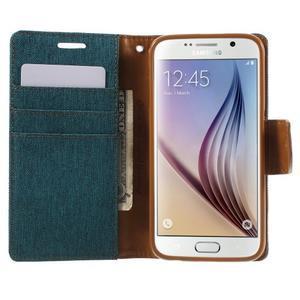 Luxury textilní/koženkové puzdro na Samsung Galaxy S6 - zelenomodré - 5