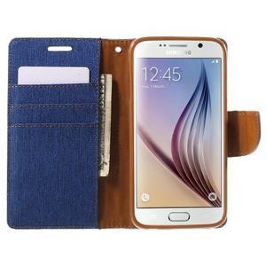 Luxury textilní/koženkové puzdro na Samsung Galaxy S6 - modré - 5