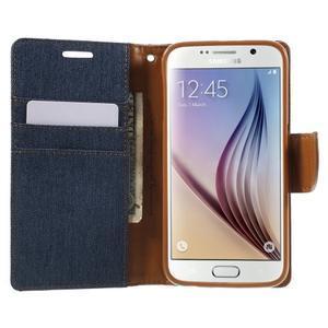 Luxury textilné/koženkové puzdro pre Samsung Galaxy S6 - jeans - 5