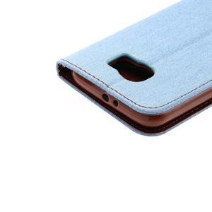 Cloth peňaženkové puzdro pre Samsung Galaxy S6 - svetlo modré - 5
