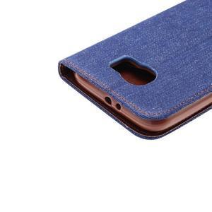 Cloth peňaženkové puzdro pre Samsung Galaxy S6 - tmavo modré - 5