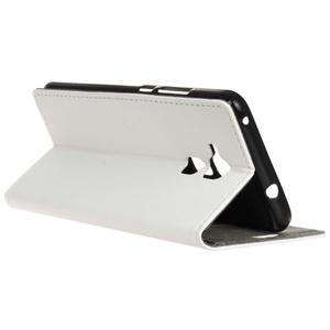 Peňaženkové PU kožené puzdro pre mobil Honor 7 Lite - bielé - 5