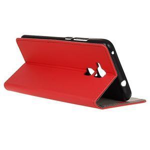 Peněženkové PU kožené pouzdro na mobil Honor 7 Lite - červené - 5