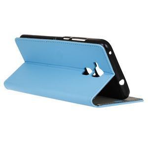 Peňaženkové PU kožené puzdro pre mobil Honor 7 Lite - modré - 5