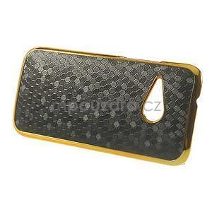 Plastový kryt se zlatým lemem pre HTC One mini 2 - čierny - 5