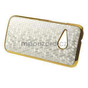 Plastový kryt se zlatým lemem na HTC One mini 2 - strieborný - 5