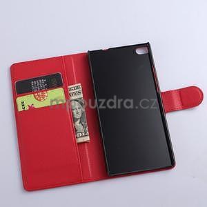 Kožené peňaženkové puzdro na Huawei Ascend P8 - červený - 5