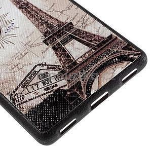 Gélový kryt s koženým chrbtom na Huawei Ascend P8 -  Eiffelova veža - 5