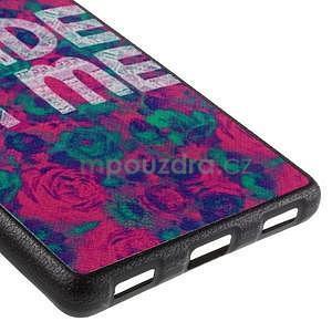 Gélový kryt s koženým chrbtom na Huawei Ascend P8 -  roses - 5