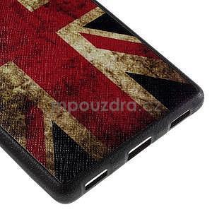 Gélový kryt s koženým chrbtom na Huawei Ascend P8 -  UK vlajka - 5