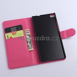 Kožené peňaženkové puzdro na Huawei Ascend P8 - rose - 5