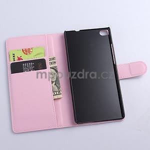 Kožené peňaženkové puzdro na Huawei Ascend P8 - růžový - 5