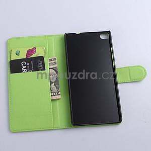 Kožené peňaženkové puzdro na Huawei Ascend P8 - zelený - 5
