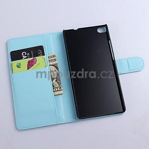 Kožené peňaženkové puzdro na Huawei Ascend P8 - modrý - 5